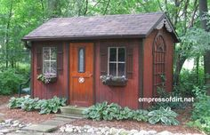 simple way to make the shed look better - windows, wall decoration