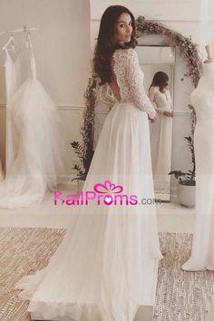 2017 Vestidos de boda largos atractivos de la cucharada de la cucharada trasera una línea gasa y cordón