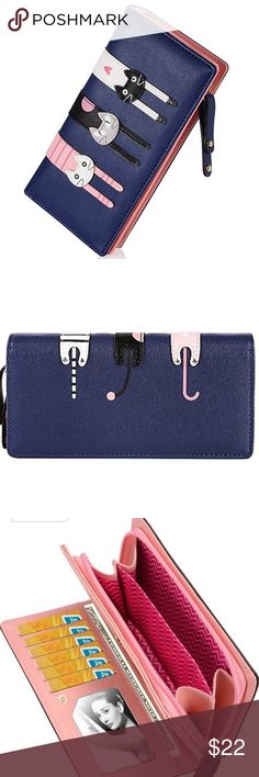 "Two sided kitty wallet PU Leather  Size approx 7.5in(L)x1.2""(W)x3.5""(H) Cute trio of kitties back side kitty tushies  Pink/Lt. Blue/Blue also available in my closet Bags Wallets"