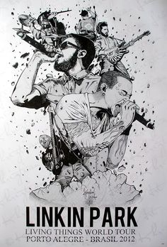 "Amazon.com: 6975-M Linkin Park American Rock Band Chester Bennington Music Wall Decoration Poster Size 24""x35"": Prints: Posters & Prints Deal"