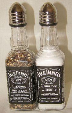 2 sets of Jack Daniel's Whiskey Salt & Pepper Shakers 50 ml Empty Liquor Bottle (alcohol bottle gift) Alcohol Bottle Crafts, Alcohol Bottles, Wine Bottle Crafts, Bottle Art, Alcohol Bottle Decorations, Bottle Lamps, Bottle Lights, Empty Liquor Bottles, Bottles And Jars