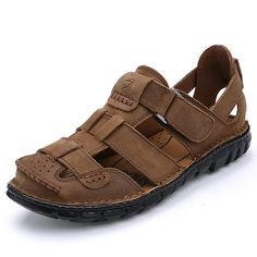d60bfdedbb738 Fashion Men Sandals Full Grain Leather Sandals Outdoor Shoes Casual Men  Summer Shoes Soft Bottom Beach · Men s SandalsCheap ...