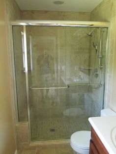 New tile shower with sliding glass door. Doors, Shower Tile, Master Bath, Bathtub, Bath, Sliding Glass Door, Glass Door, Bathroom Renovations, Bathroom