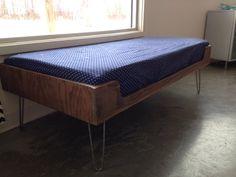 Mid century modern minimalist plywood window seat with hairpin legs on Etsy, $300.00