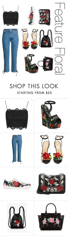 """""""Feature florals"""" by new-found-lover on Polyvore featuring Topshop, Sergio Rossi, Charlotte Olympia, Gucci, Miu Miu and Monki"""