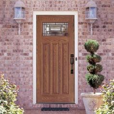 Feather River Doors Preston Patina Craftsman Stained Medium Oak Fiberglass Entry Door-A43491 at The Home Depot