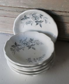 RARE Set of Six Gray Transferware Butter Pats by aprairiemarket