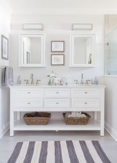 Master Bathroom: Roseland Project Renovation -- grey and white bathroom, home decorators Austell furniture vanity, Moen Banbury faucet, EVER Skincare