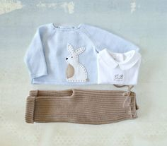 Knitted sweater and ribbed pants. Soft blue and by tenderblue