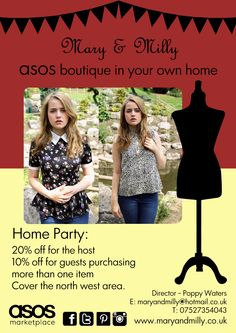 Want the newest fashions? Well book a home party today & have a boutique in your very own home!  Contact  https://www.facebook.com/pages/Mary-Milly/302607409769477  or  https://twitter.com/MaryandMilly