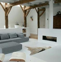 I love the rustic beams with the white.