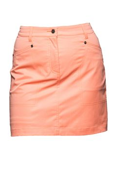 SCRAMBLE SKORT PERSIMON This sporty skort is designed with technical stretch fabric that is soft comfortable and offers full freedom of movement.  The fabric is thicker than the one in the Miracle or Magic collection and therefore keeps you warm and dry when Mother Nature is not so kind. #golfskort #DailySportsUSA #PompanoBeach