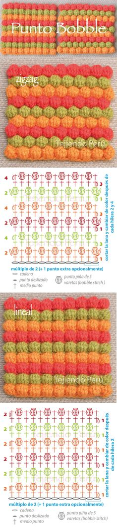 Crochet Bobble Stitch Pattern Zigzag And Linear Diagram Or Chart 2 Crochet Bobble, Crochet Gratis, Crochet Motifs, Crochet Diagram, Crochet Stitches Patterns, Crochet Chart, Diy Crochet, Knitting Stitches, Crochet Designs