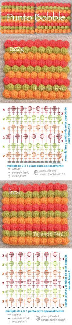 Punto bobble tejido a crochet en zigzag y en forma lineal (diagramas!)