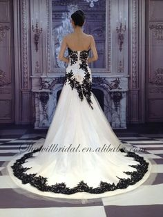 White wedding dress with black application