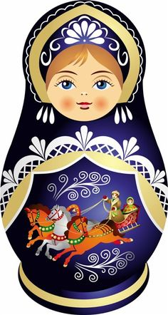 Matryoshka - Russian nesting doll. Vector clip art. #folk #art #Russian #dolls
