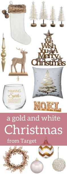 A Brick Home: Gold and White Christmas Decor, gold and white christmas decorations, gold christmas decorations ideas, white christmas decor