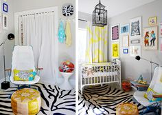 grey yellow nursery kids room chic zebra - eclectic baby room, artsy! #babyroom