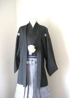 Mens KIMONO Jacket Haori Kimono Hakama vintage mens wedding samurai black Japanese formal