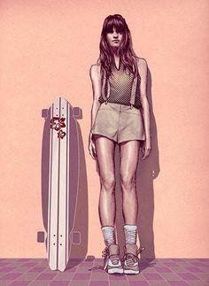 Longboard skate Fashion Illustration by Jeffrey Flores Illustration Sketches, Character Illustration, Illustrations Posters, Skate Girl, Portfolio Images, Longboarding, Portraits, Looks Cool, John Galliano