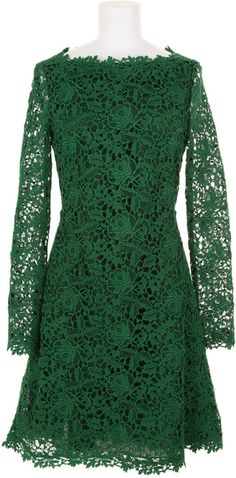 valentino Long Sleeve Dress - Lyst not too fussed on the colour but divine lace! Emerald Dresses, Green Lace Dresses, Green Dress, Pretty Dresses, Green Long Sleeve Dress, Valentino Dress, Cotton Lace, Dress Me Up, Clothing Patterns