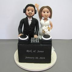 Reserved for Janee balance due for custom music DJ Wedding Cake Topper by clayinaround on Etsy