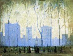 Bryant Park by Paul Cornoyer - Canvas Art Print American Impressionism, Impressionist, Landscape Art, Landscape Paintings, Landscapes, Art Thou, Virtual Art, City Illustration, Tumblr