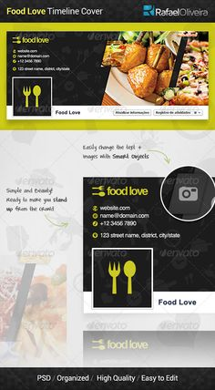 Food Love Facebook Timeline Cover — Photoshop PSD #gourmet #hungry • Available here → https://graphicriver.net/item/food-love-facebook-timeline-cover/5988858?ref=pxcr