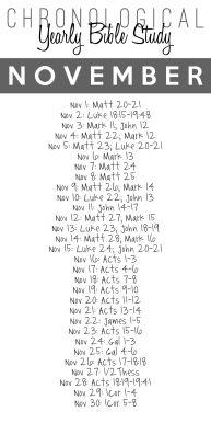 November bible study plan