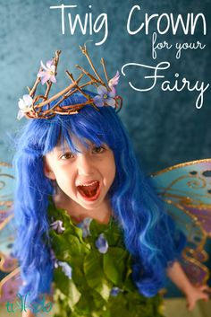 Make a charming natural twig crown for your fairy for Halloween. Made with sticks from the backyard, it's inexpensive an easy to create.