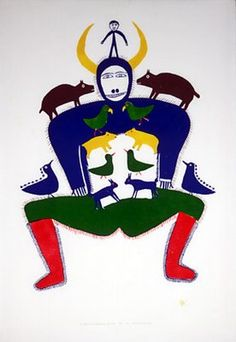 Playing with my Grandchildren (1981), by Jessie Oonark (1906-1985), a Canadian Inuit artist who is best known for her wall hangings & her prints.