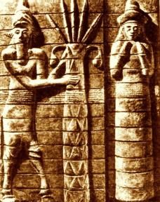 Mythical God Enlil to the left - The king of Earth. Like Any was called Father of God's or King of God's. Powerful and merciful god, represented by storm, flood or hurricane. Sent Cataclysm to earth.  Created Lab by to wipe out mankind.