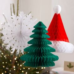 Are you interested in our christmas paper decorations? With our christmas paper decorations you need look no further. Christmas Tree Hat, Green Christmas, Retro Christmas, Paper Christmas Decorations, Christmas Paper, Hanging Decorations, Vintage Decorations, Honeycomb Decorations, Snowflake Decorations