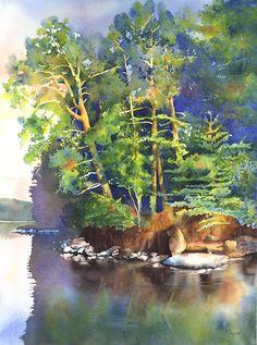 Watercolor shoreline