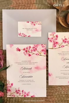 Beautiful cherry blossom themed wedding invitation with a light pink watercolour background. For more design ideas, visit www.rohanaparna.com ——————————————— #rohanaparnainvitations #weddinginvitations #weddingcards #indianweddingcard #reception #weddingcard #shaadi #shaadicard#hinduweddingcard #mehendi #indianwedding #ecard #destinationwedding #weddingcards #royalwedding #cherryblossom #floralweddingcard #indianfloral Pink Watercolor, Watercolor Background, Indian Wedding Cards, Luxury Wedding Invitations, Mehendi, Cherry Blossom, I Card, Destination Wedding, Reception