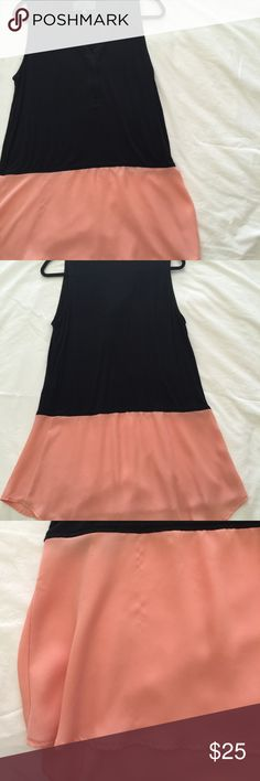 anthropologie black + pink color block tunic sleeveless top with longer cut. great condition with exception of minor pulls in pink chiffon layer (see picture). sunday in brooklyn brand. Anthropologie Tops Tunics