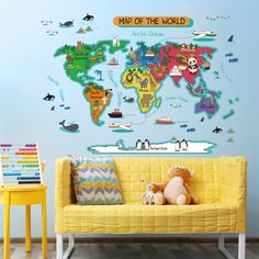 Cheap map wall sticker, Buy Quality world map wall sticker directly from China sticker for kids room Suppliers: World map Wall Stickers For Kids Room Home Decor DIY Removable Wall Decal Kindergarten study room QTB578-4