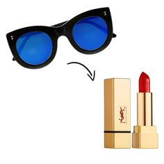love the graphic blue lenses with a classic red lipstick