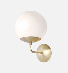 Mid Century Modern Opal Glass Globe Wall Sconce Light 8