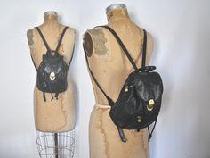 Leather Backpack Bookbag / black bag / Nine West by badbabyvintage on Etsy