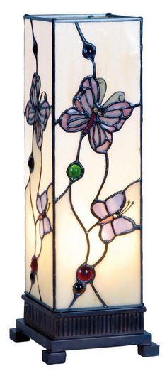 Moderne TIFFANY-Lampe MARIPOSAS.  35x12,5x12,5cm.besteht aus vielen einzelnen Glasteilen, sorgfältig ausgesucht und liebevoll hand gefertigt. .