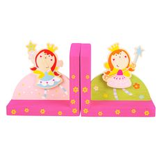 These two delightful fairies will watch over all manner of books and folders that are placed between them! Brightly coloured and of sturdy wooden construction, these bookends are also sure to liven up any bedroom or play area - as well as keeping everything neat and tidy! Other fairy-themed room accessories are also available. 2 items. Not a Toy. http://shop.bigjigstoys.co.uk/p/fairy-bookends