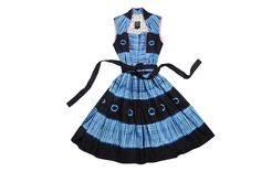 Noh Nee Dirndl in Blue with African print