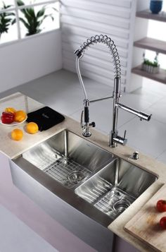 Buy the Kraus Stainless Steel / Chrome Direct. Shop for the Kraus Stainless Steel / Chrome Kitchen Combo - Farmhouse Double Bowl 16 Gauge Stainless Steel Kitchen Sink with Pre-Rinse Kitchen Faucet and Soap Dispenser and save. Corner Sink Kitchen, Drop In Kitchen Sink, Modern Kitchen Sinks, Kitchen Sink Design, Farmhouse Sink Kitchen, Kitchen Sink Faucets, Modern Farmhouse Kitchens, New Kitchen, Lavatory Sink