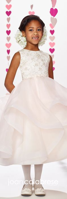 Joan Calabrese for Mon Cheri - Fall 2017 - Style No. 217382 - ivory/pink sleeveless tea-length flower girl dress with organza ruffled skirt