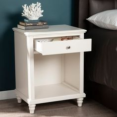 Shop Copper Grove Schwechat White Nightstand w/ USB Ports - On Sale - Free Shipping Today - Overstock - 24147792 White End Tables, White Nightstand, Decorative Items, Bedroom Decor, Copper, Usb, Home And Garden, Free Shipping, Shop