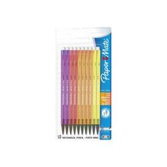 Paper Mate Non-Stop Mechanical Pencil 0.7mm Pack of 16 HB #2 Original Clear Neon Barrel Colours