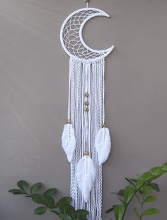 Moon dreamcatcher with feathers, Crescent Moon macrame wall hanging, White dream catcher, Nursery wall decor Macrame Wall Hanging Patterns, Macrame Plant Hangers, Macrame Patterns, Wall Patterns, Macrame Design, Macrame Art, Macrame Projects, Macrame Knots, Dream Catcher Nursery