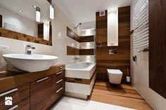 łazienka z drewnem realizacja - Średnia łazienka w bloku bez okna, styl nowoczesny - zdjęcie od All Design Agnieszka Lorenc