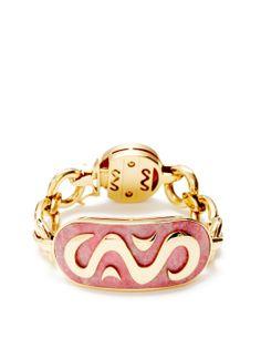 Bulgari Gold & Rhodolite Oval Station Bracelet by Bulgari at Gilt - Beautiful!